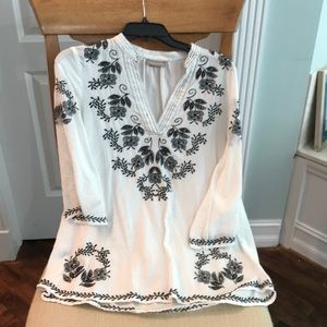 White linen tunic with black embroidery